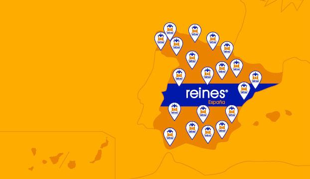 Mapa de España indicando donde están las oficinas de expansión de reines