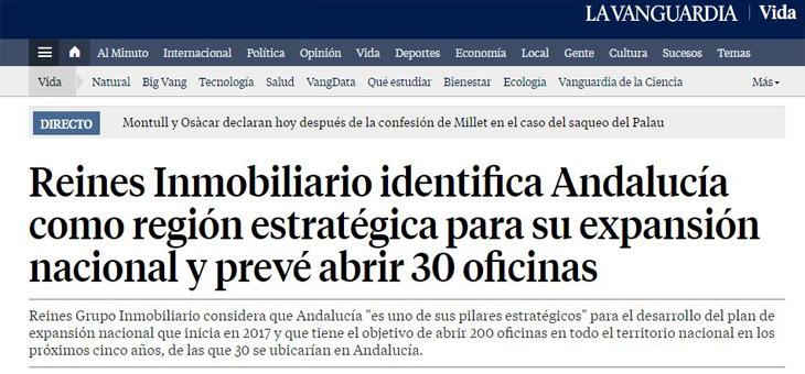 El diario La Vanguardia publica los detalles del plan de Expansión de Reines en Andalucía